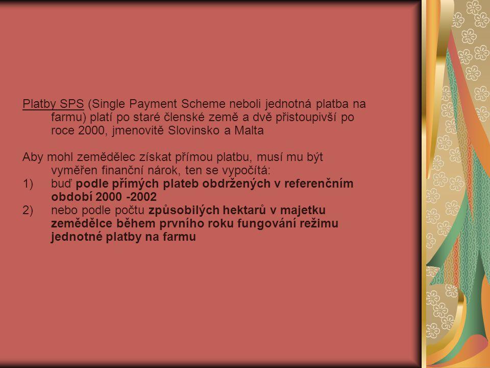 Platby SPS (Single Payment Scheme neboli jednotná platba na farmu) platí po staré členské země a dvě přistoupivší po roce 2000, jmenovitě Slovinsko a Malta Aby mohl zemědělec získat přímou platbu, musí mu být vyměřen finanční nárok, ten se vypočítá: 1)buď podle přímých plateb obdržených v referenčním období 2000 -2002 2)nebo podle počtu způsobilých hektarů v majetku zemědělce během prvního roku fungování režimu jednotné platby na farmu
