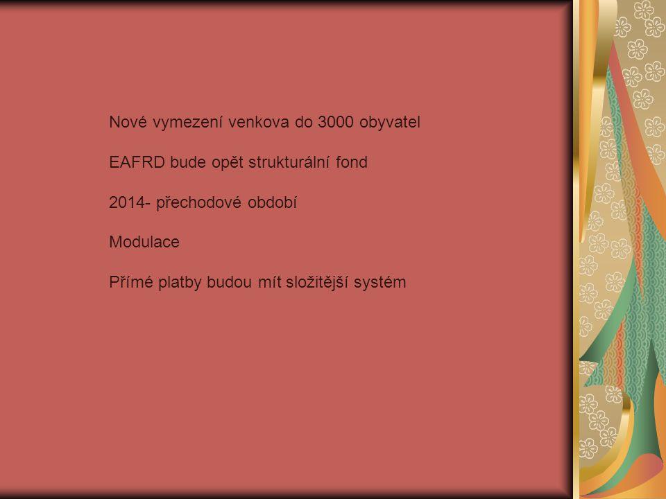 Nové vymezení venkova do 3000 obyvatel EAFRD bude opět strukturální fond 2014- přechodové období Modulace Přímé platby budou mít složitější systém