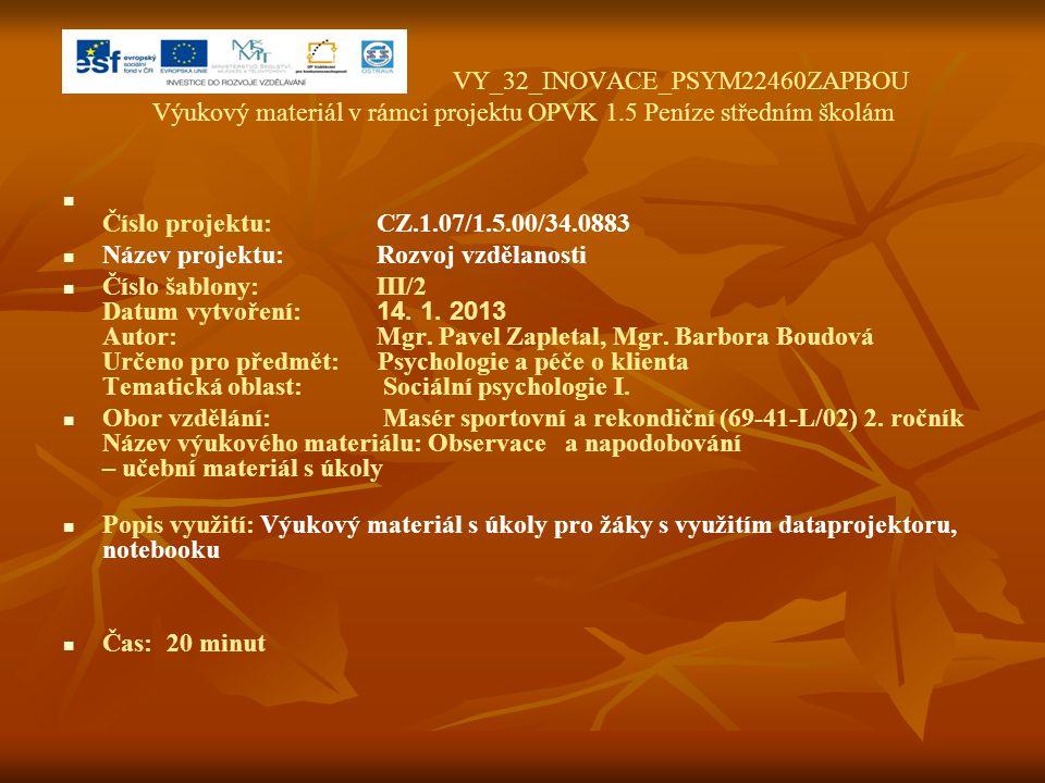 VY_32_INOVACE_PSYM22460ZAPBOU Výukový materiál v rámci projektu OPVK 1.5 Peníze středním školám Číslo projektu:CZ.1.07/1.5.00/34.0883 Název projektu:R
