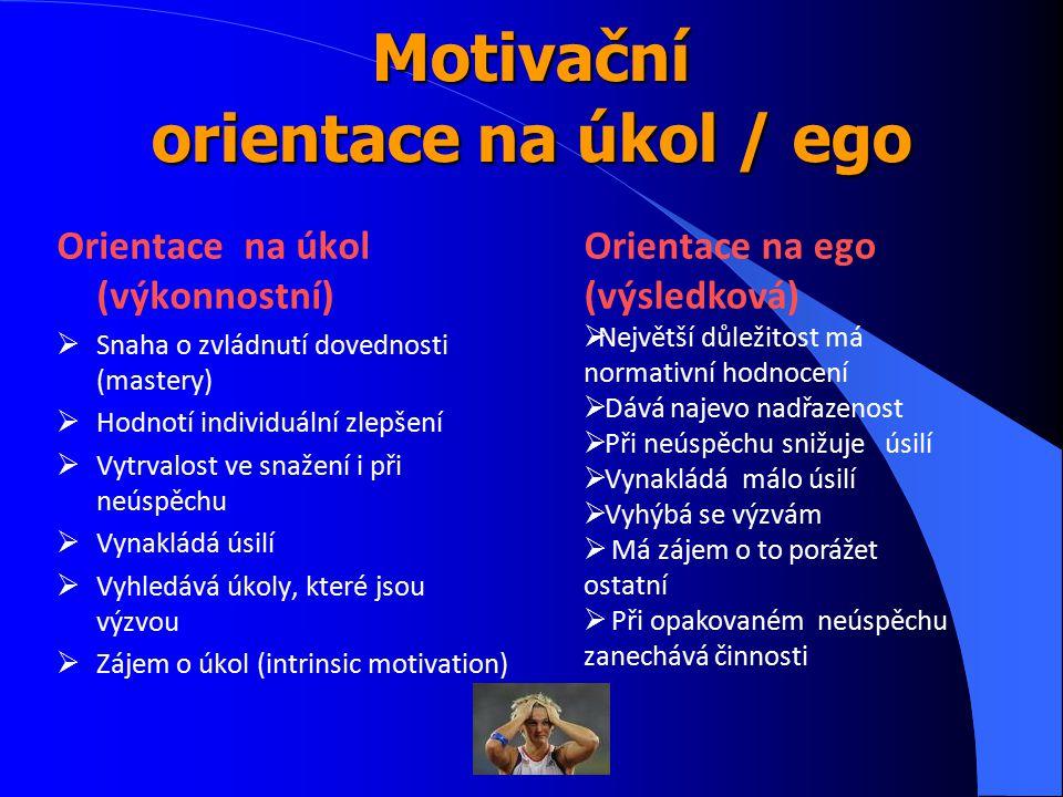 Motivační orientace na úkol / ego Orientace na úkol (výkonnostní)  Snaha o zvládnutí dovednosti (mastery)  Hodnotí individuální zlepšení  Vytrvalos