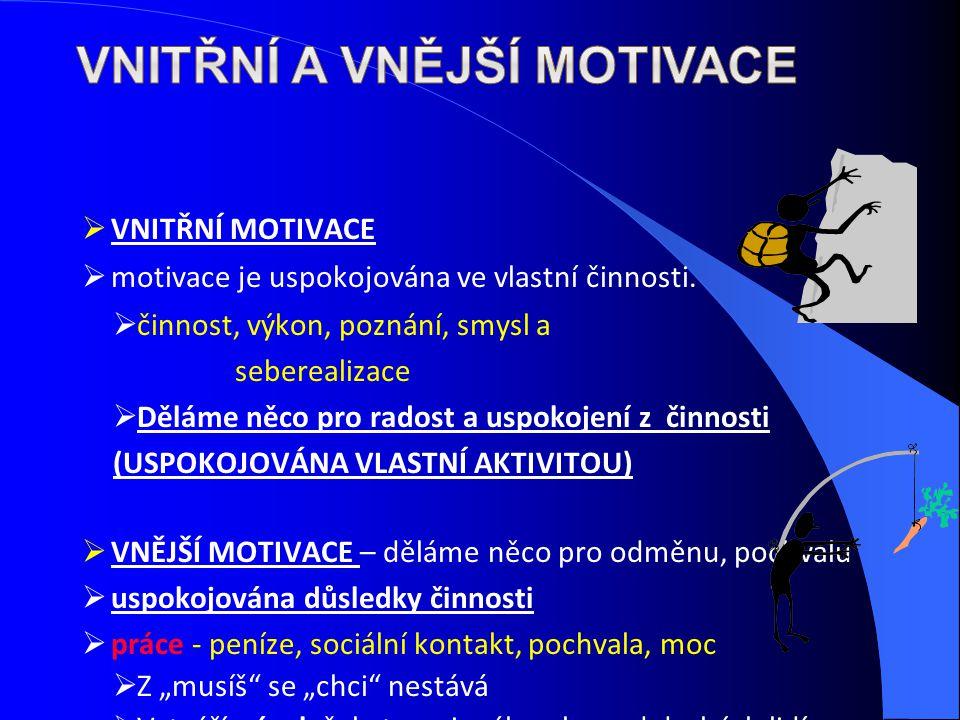 VNITŘNÍ MOTIVACE  motivace je uspokojována ve vlastní činnosti.  činnost, výkon, poznání, smysl a seberealizace  Děláme něco pro radost a uspokoj