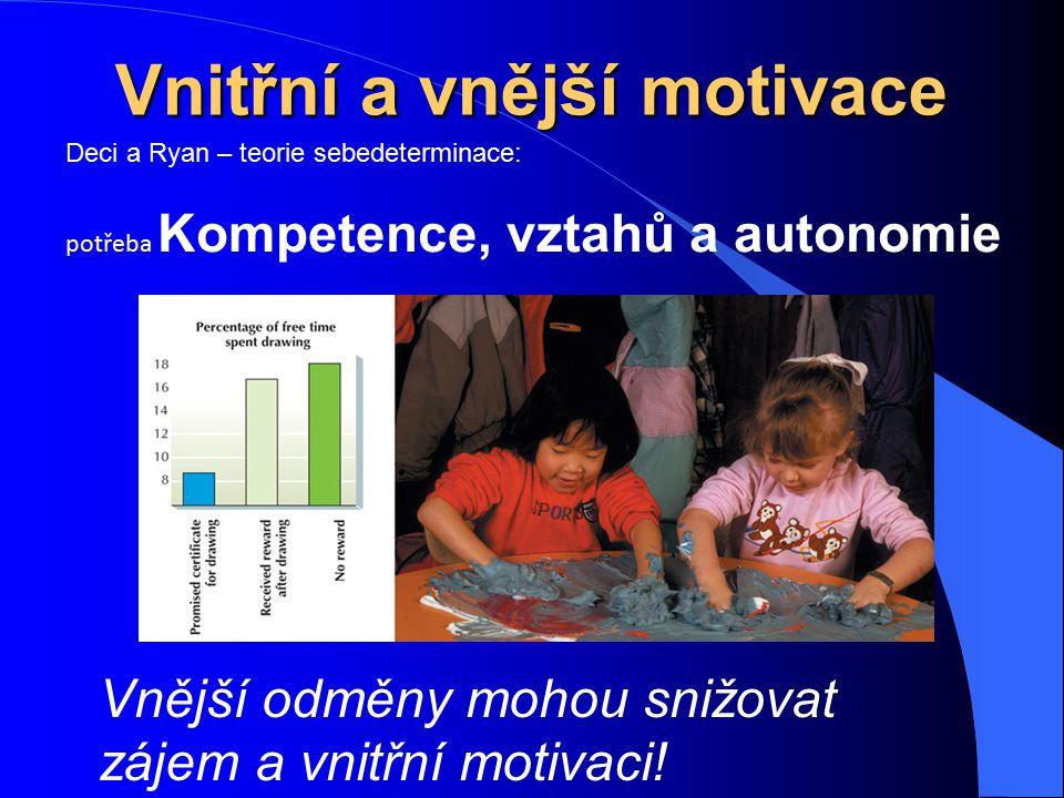 Vnitřní a vnější motivace Vnější odměny mohou snižovat zájem a vnitřní motivaci! Deci a Ryan – teorie sebedeterminace: potřeba Kompetence, vztahů a au