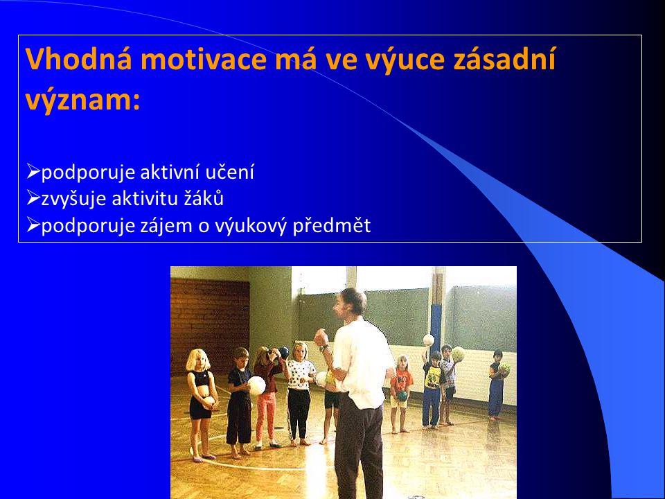 Vhodná motivace má ve výuce zásadní význam:  podporuje aktivní učení  zvyšuje aktivitu žáků  podporuje zájem o výukový předmět