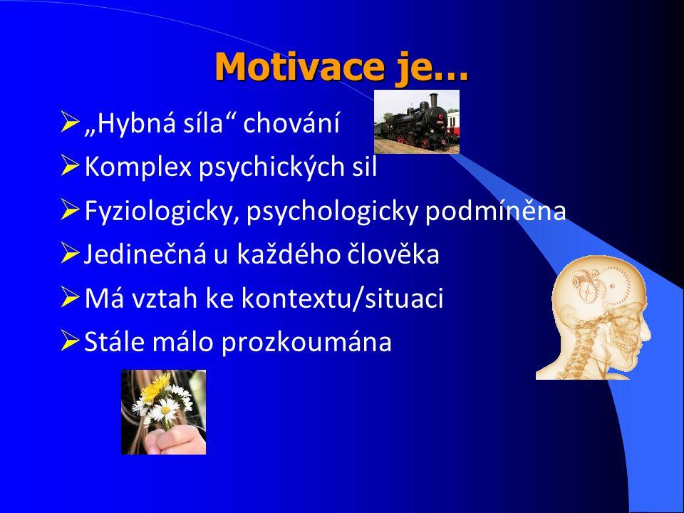 """Motivace je…  """"Hybná síla"""" chování  Komplex psychických sil  Fyziologicky, psychologicky podmíněna  Jedinečná u každého člověka  Má vztah ke kont"""