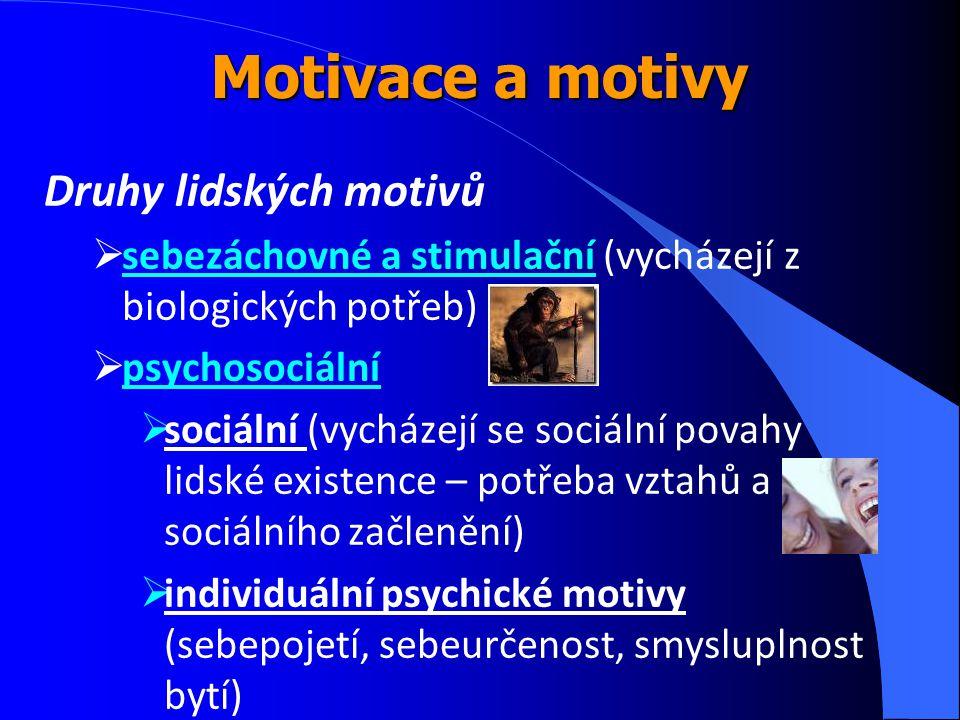Druhy lidských motivů  sebezáchovné a stimulační (vycházejí z biologických potřeb)  psychosociální  sociální (vycházejí se sociální povahy lidské e