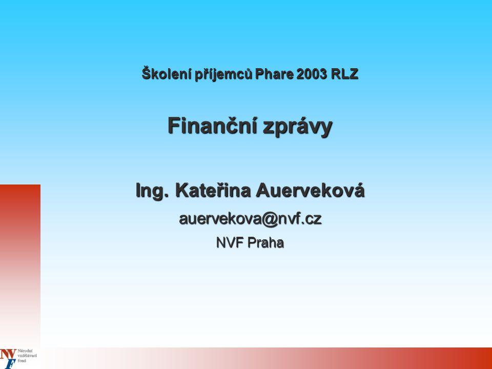 Školení příjemců Phare 2003 RLZ Finanční zprávy Ing.