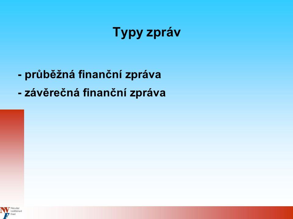 Průběžná finanční zpráva - vypracovává se za uplynulé 3- měsíční období, první zpráva se předkládá nejpozději do 14 dnů po skončení sledovaného tříměsíčního období spolu s technickou zprávou - Formát zprávy - viz (www.nvf.cz), příloha 3 Příručky pro příjemce grantu - Použitý kurz – přepočet nákladů za sledované období se provádí kurzem měsíce, kdy byla předložena žádost o zálohovou ( případně průběžnou platbu) - Pokud má příjemce grantu účet v EUR, používá kurz použitý bankou - Průběžné zprávy včetně všech tabulek zasílá příjemce grantu v elektronické podobě k odsouhlasení NVF na adresu: - phare2003 rlz@nvf.cz rlz@nvf.cz