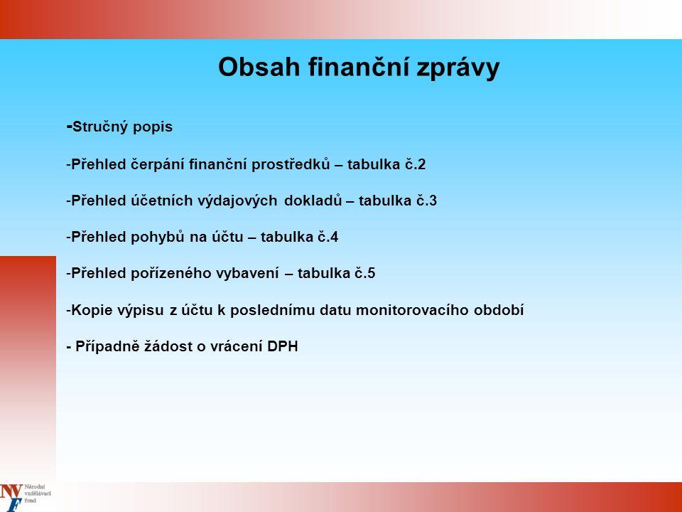 Obsah finanční zprávy - Stručný popis -Přehled čerpání finanční prostředků – tabulka č.2 -Přehled účetních výdajových dokladů – tabulka č.3 -Přehled pohybů na účtu – tabulka č.4 -Přehled pořízeného vybavení – tabulka č.5 -Kopie výpisu z účtu k poslednímu datu monitorovacího období - Případně žádost o vrácení DPH