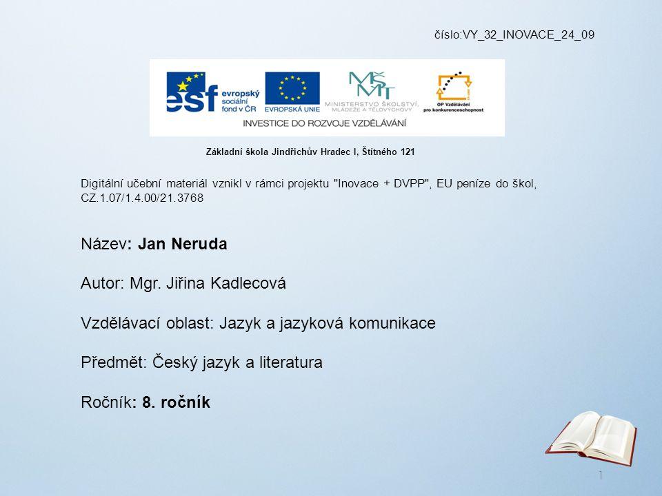 číslo:VY_32_INOVACE_24_09 Digitální učební materiál vznikl v rámci projektu