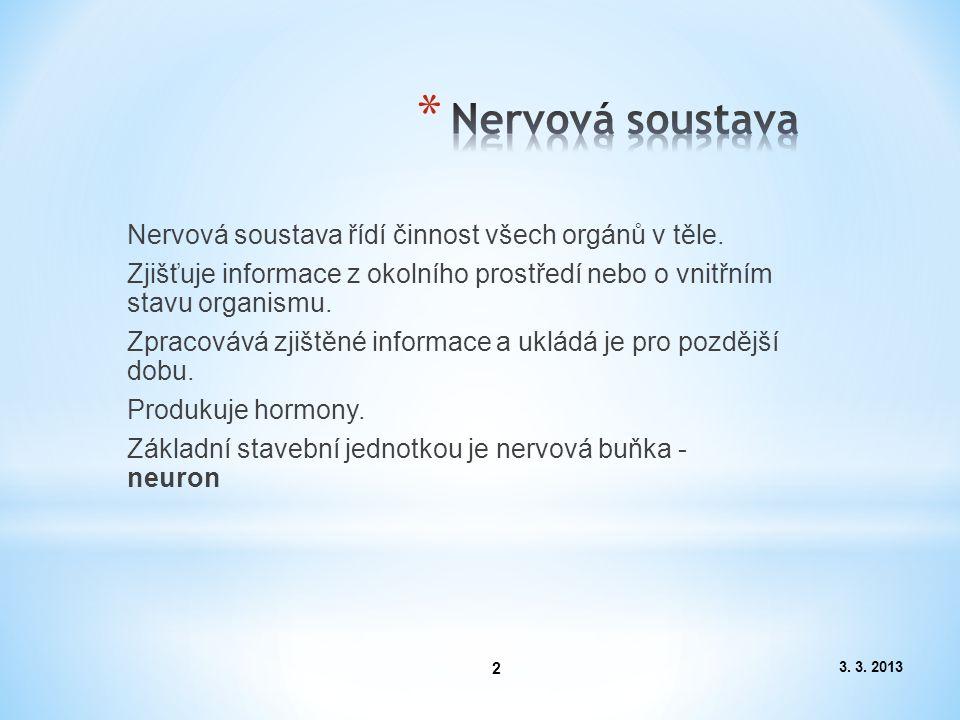 3. 3. 2013 2 Nervová soustava řídí činnost všech orgánů v těle. Zjišťuje informace z okolního prostředí nebo o vnitřním stavu organismu. Zpracovává zj