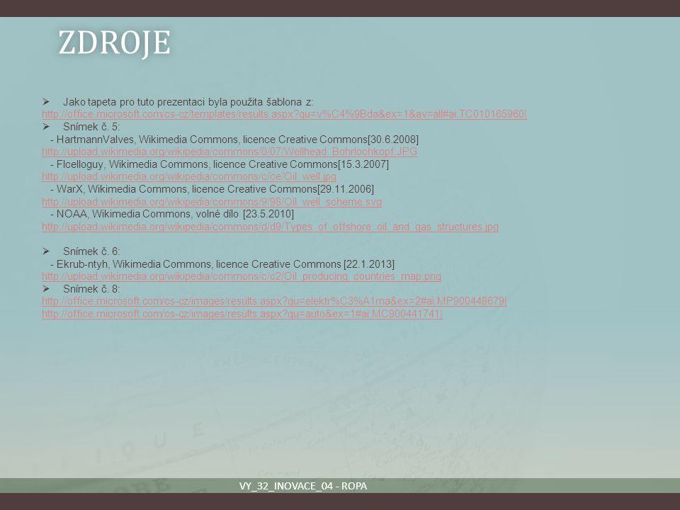 ZDROJE  Jako tapeta pro tuto prezentaci byla použita šablona z: http://office.microsoft.com/cs-cz/templates/results.aspx?qu=v%C4%9Bda&ex=1&av=all#ai: