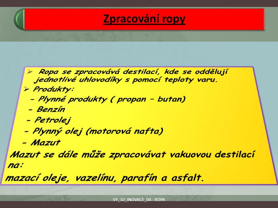 Zpracování ropy VY_32_INOVACE_04 - ROPA