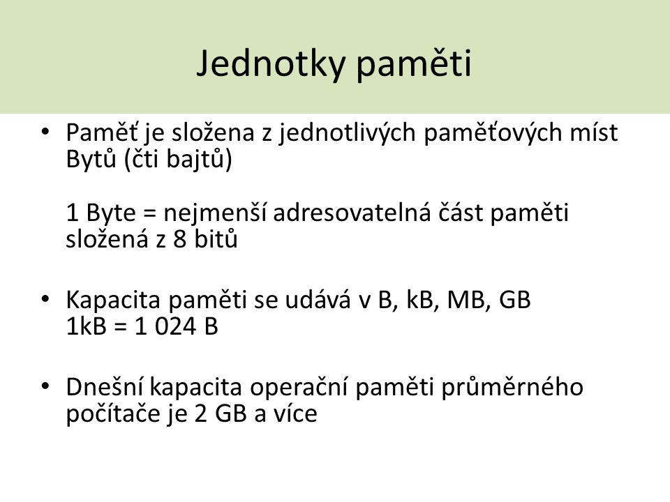 Jednotky paměti Paměť je složena z jednotlivých paměťových míst Bytů (čti bajtů) 1 Byte = nejmenší adresovatelná část paměti složená z 8 bitů Kapacita