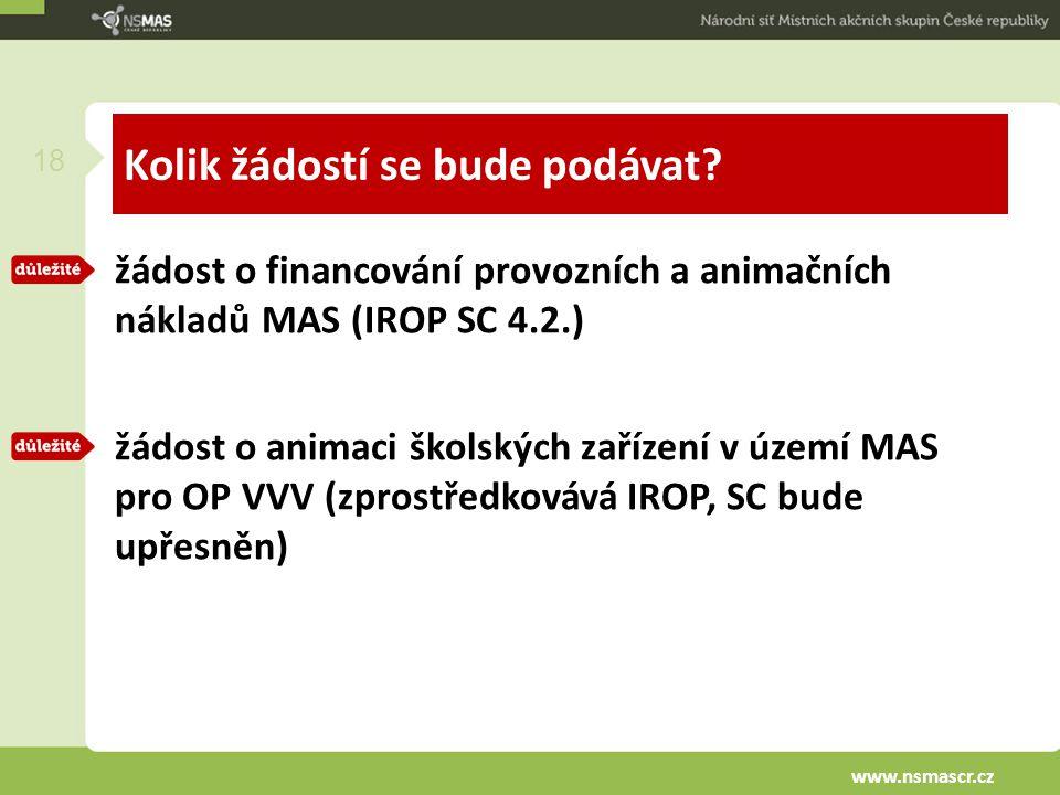 Kolik žádostí se bude podávat? žádost o financování provozních a animačních nákladů MAS (IROP SC 4.2.) žádost o animaci školských zařízení v území MAS