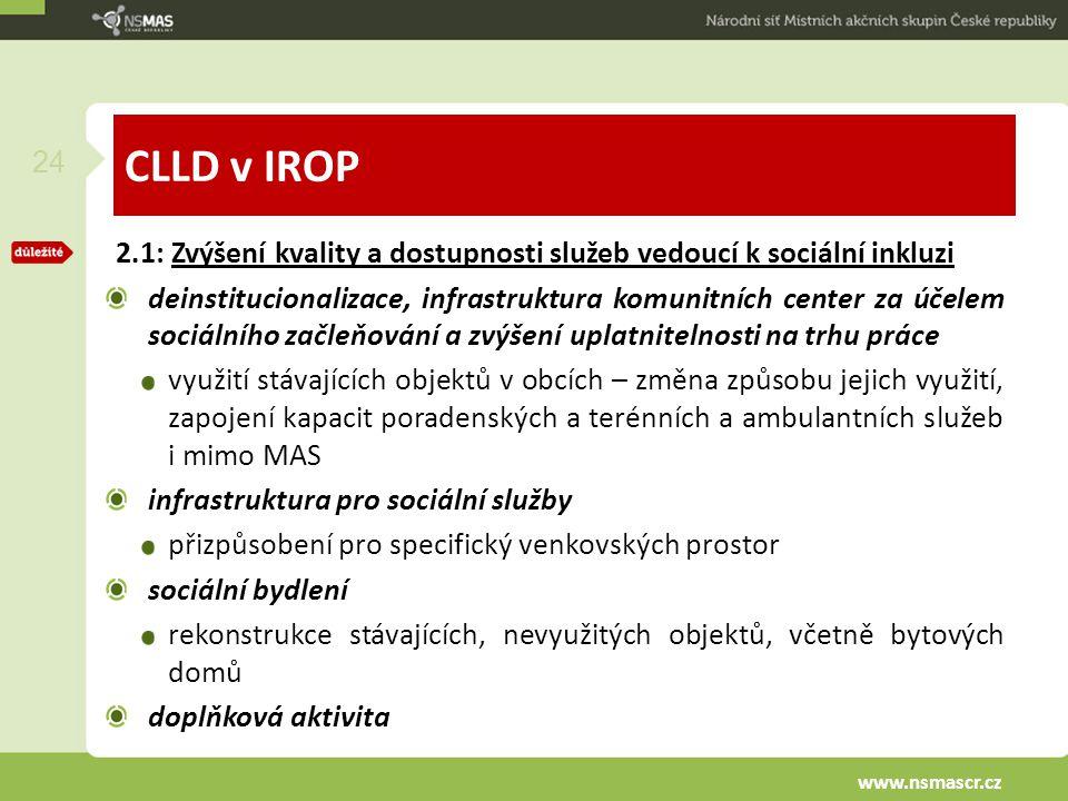 CLLD v IROP 2.1: Zvýšení kvality a dostupnosti služeb vedoucí k sociální inkluzi deinstitucionalizace, infrastruktura komunitních center za účelem soc