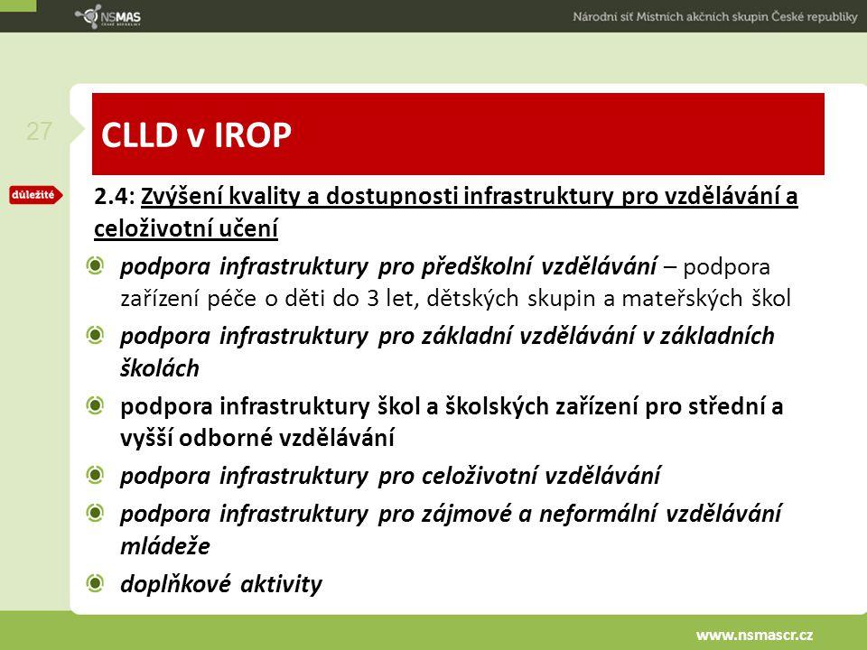 CLLD v IROP 2.4: Zvýšení kvality a dostupnosti infrastruktury pro vzdělávání a celoživotní učení podpora infrastruktury pro předškolní vzdělávání – po