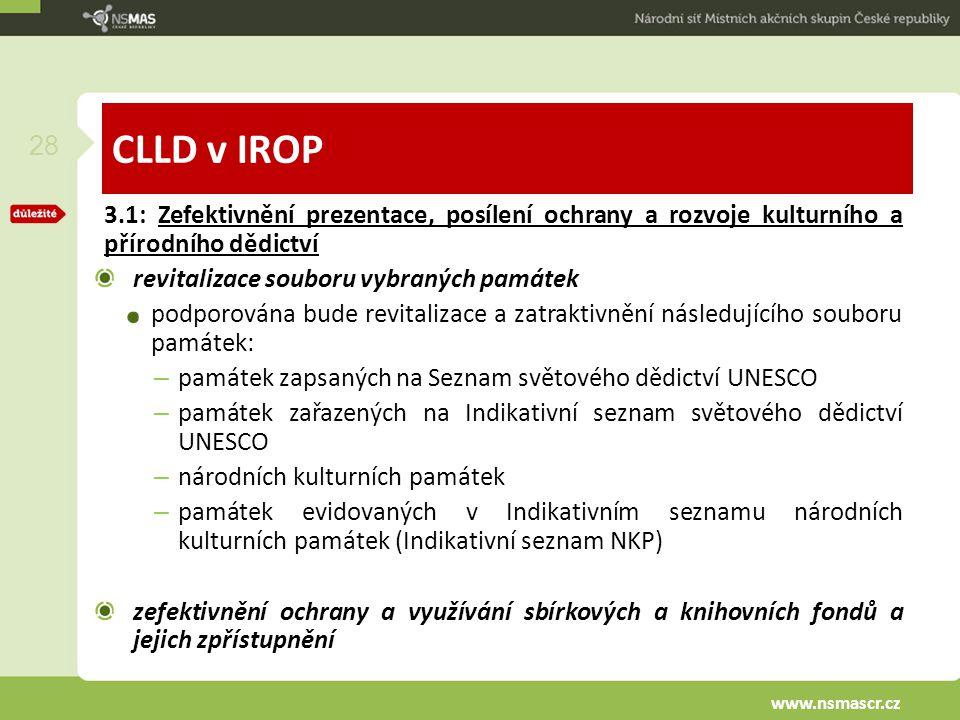 CLLD v IROP 3.1: Zefektivnění prezentace, posílení ochrany a rozvoje kulturního a přírodního dědictví revitalizace souboru vybraných památek podporová
