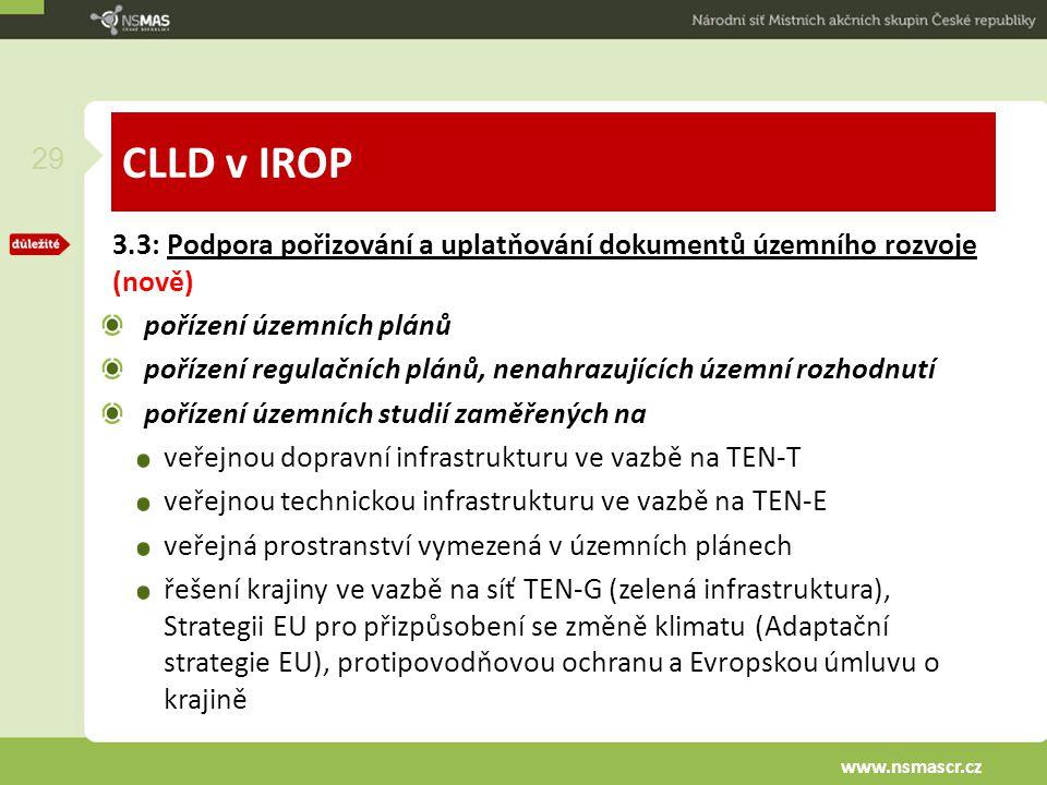 CLLD v IROP 3.3: Podpora pořizování a uplatňování dokumentů územního rozvoje (nově) pořízení územních plánů pořízení regulačních plánů, nenahrazujícíc