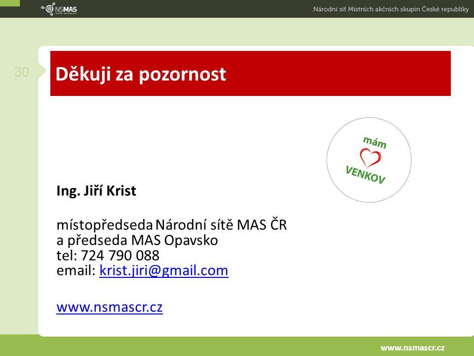 Děkuji za pozornost Ing. Jiří Krist místopředseda Národní sítě MAS ČR a předseda MAS Opavsko tel: 724 790 088 email: krist.jiri@gmail.comkrist.jiri@gm