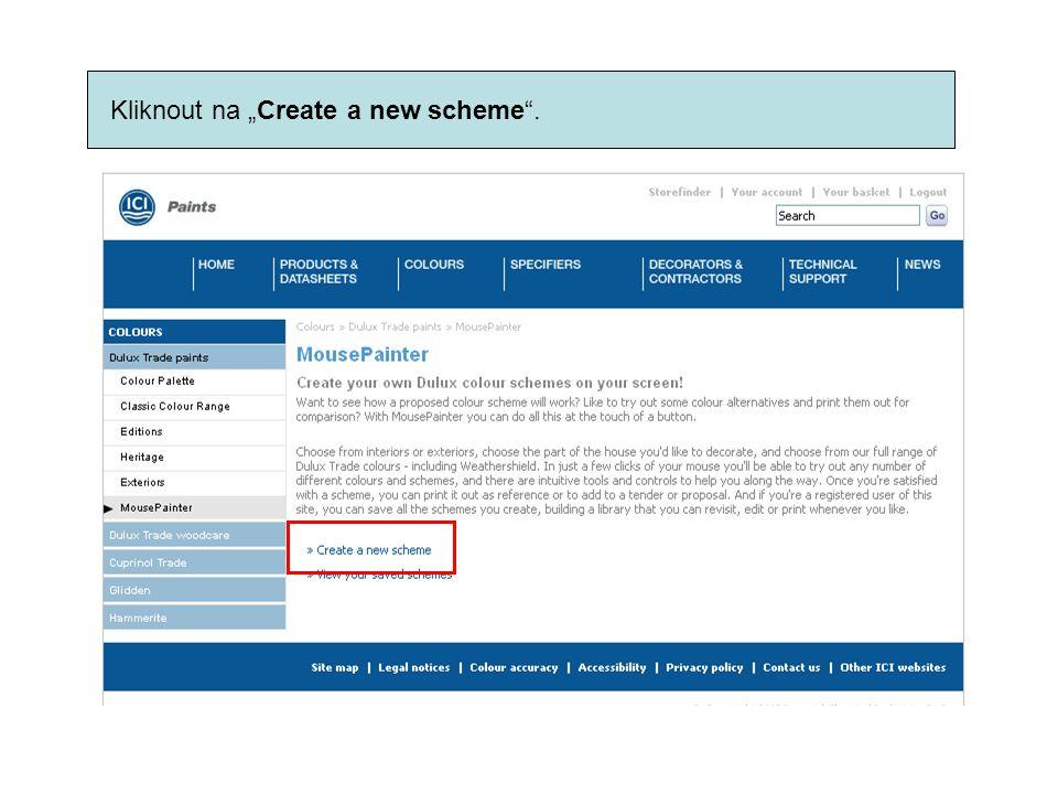"Kliknout na ""Create a new scheme""."