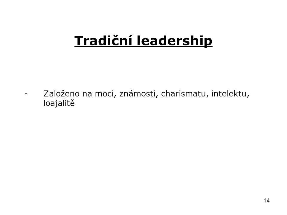 14 Tradiční leadership -Založeno na moci, známosti, charismatu, intelektu, loajalitě