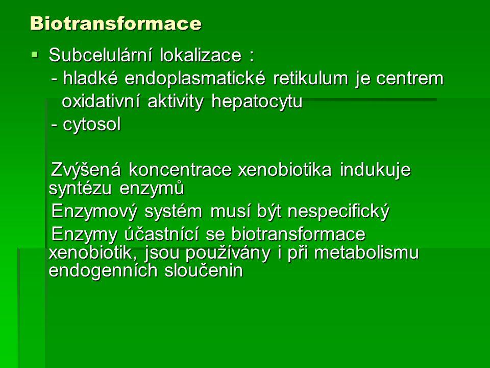 Biotransformace  Subcelulární lokalizace : - hladké endoplasmatické retikulum je centrem - hladké endoplasmatické retikulum je centrem oxidativní akt