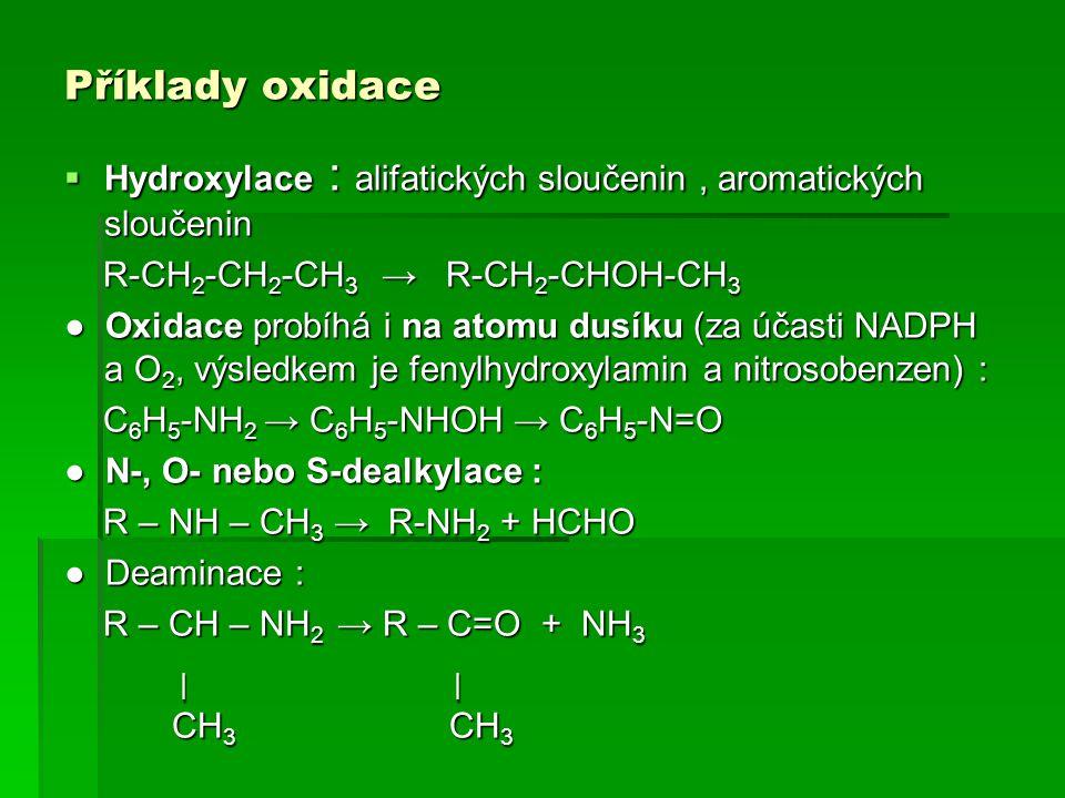 Příklady oxidace  Hydroxylace : alifatických sloučenin, aromatických sloučenin R-CH 2 -CH 2 -CH 3 → R-CH 2 -CHOH-CH 3 R-CH 2 -CH 2 -CH 3 → R-CH 2 -CH