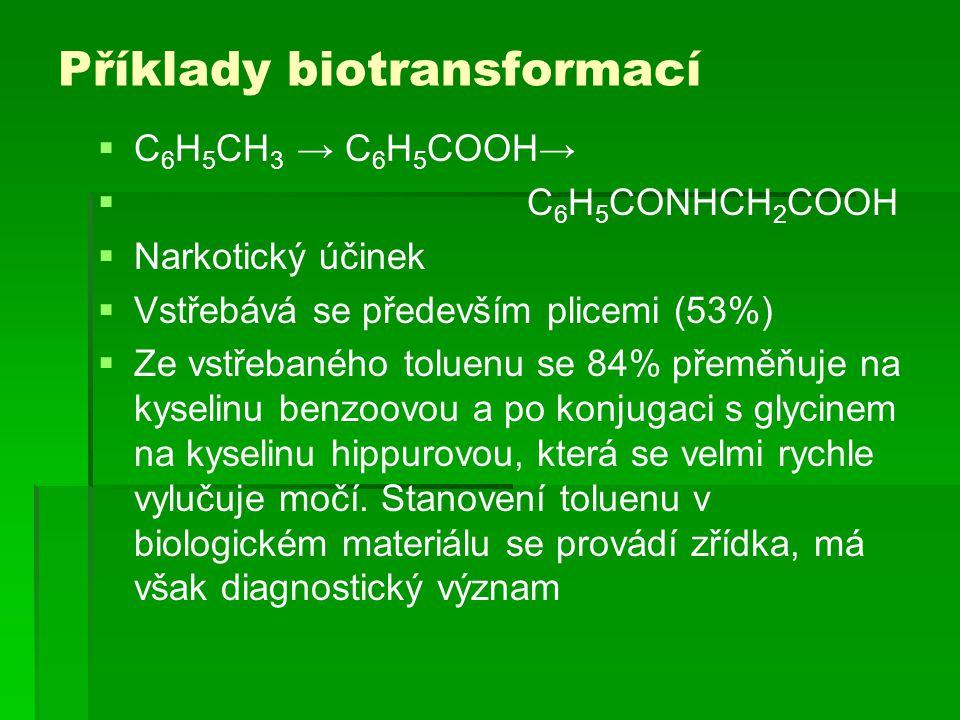 Příklady biotransformací  C 6 H 5 CH 3 → C 6 H 5 COOH→  C 6 H 5 CONHCH 2 COOH  Narkotický účinek  Vstřebává se především plicemi (53%)  Ze vstřeb