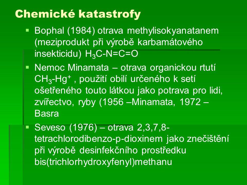 Chemické katastrofy  Bophal (1984) otrava methylisokyanatanem (meziprodukt při výrobě karbamátového insekticidu) H 3 C-N=C=O  Nemoc Minamata – otrav