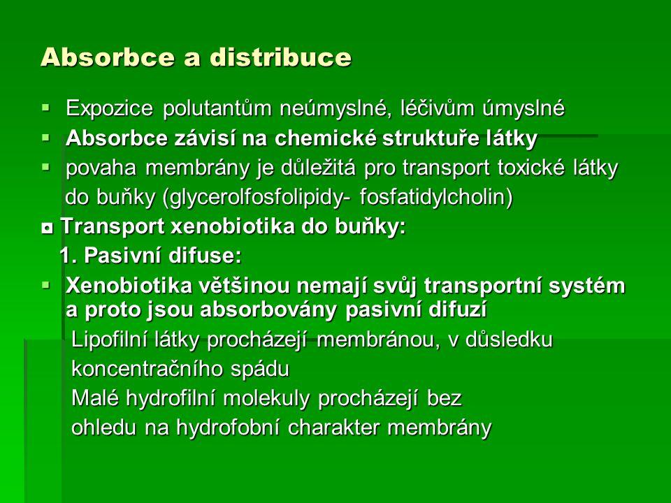 Absorbce a distribuce  Expozice polutantům neúmyslné, léčivům úmyslné  Absorbce závisí na chemické struktuře látky  povaha membrány je důležitá pro