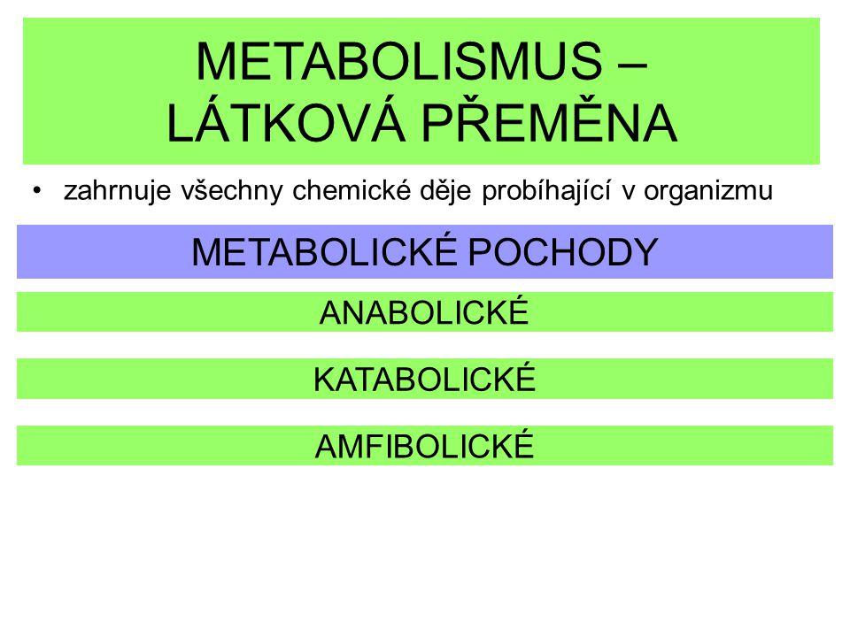 METABOLISMUS – LÁTKOVÁ PŘEMĚNA zahrnuje všechny chemické děje probíhající v organizmu METABOLICKÉ POCHODY ANABOLICKÉ KATABOLICKÉ AMFIBOLICKÉ