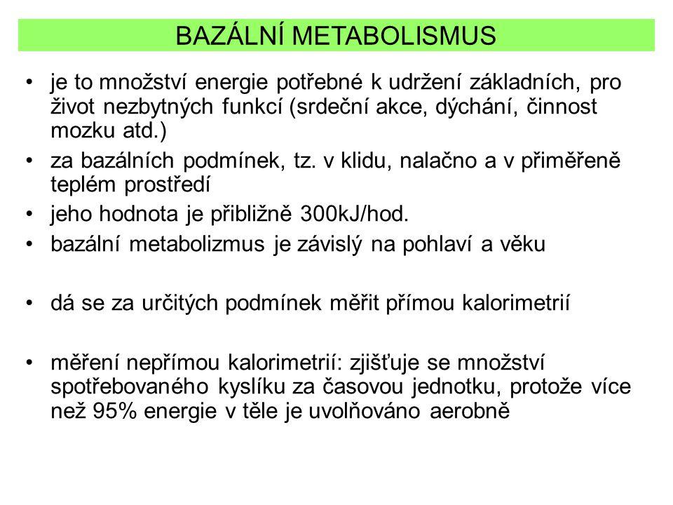BAZÁLNÍ METABOLISMUS je to množství energie potřebné k udržení základních, pro život nezbytných funkcí (srdeční akce, dýchání, činnost mozku atd.) za