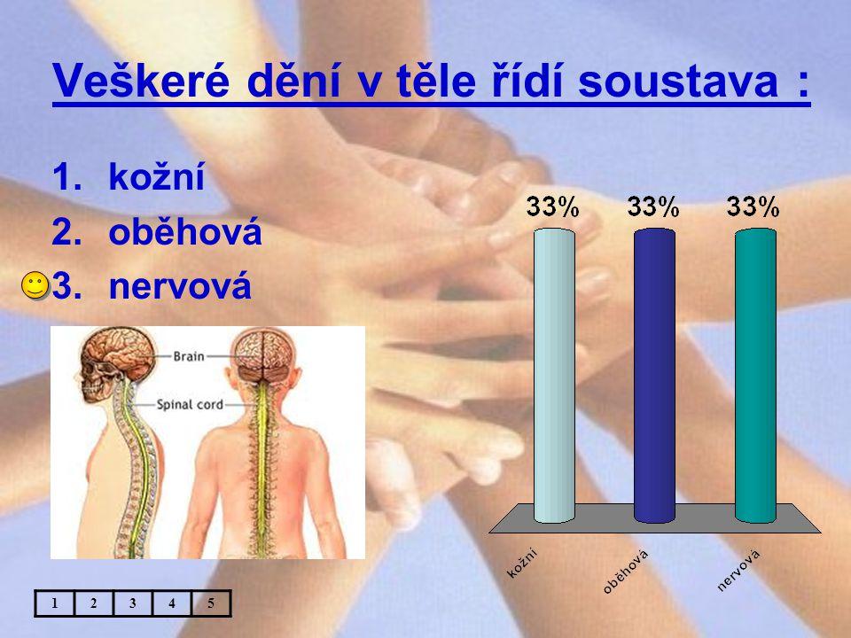 Veškeré dění v těle řídí soustava : 1.kožní 2.oběhová 3.nervová 12345