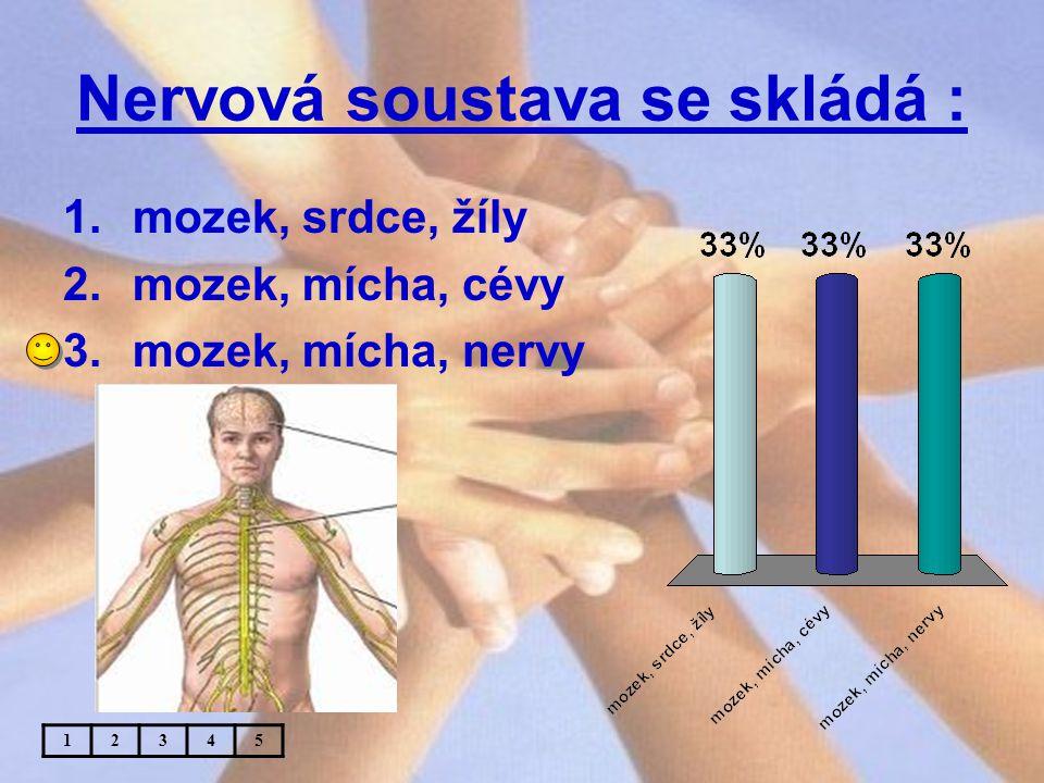 Nervová soustava se skládá : 1.mozek, srdce, žíly 2.mozek, mícha, cévy 3.mozek, mícha, nervy 12345