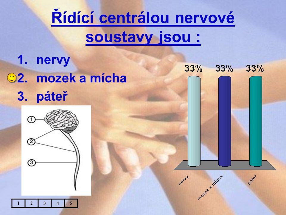 Řídící centrálou nervové soustavy jsou : 1.nervy 2.mozek a mícha 3.páteř 12345