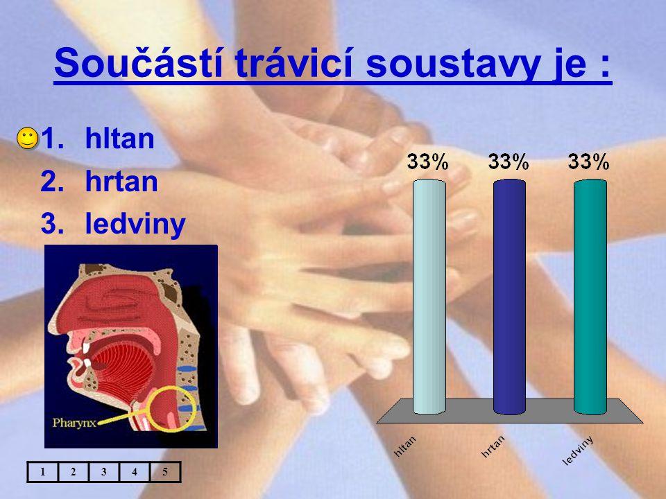 Součástí trávicí soustavy je : 12345 1.hltan 2.hrtan 3.ledviny