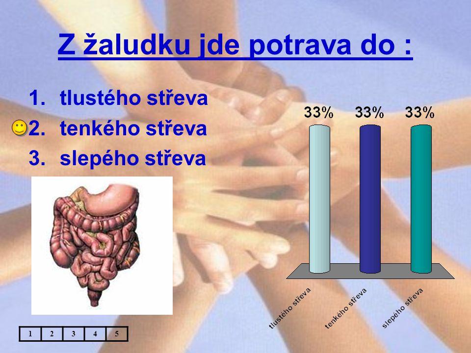 Z žaludku jde potrava do : 1.tlustého střeva 2.tenkého střeva 3.slepého střeva 12345