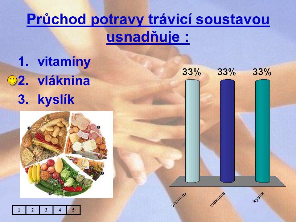Průchod potravy trávicí soustavou usnadňuje : 1.vitamíny 2.vláknina 3.kyslík 12345