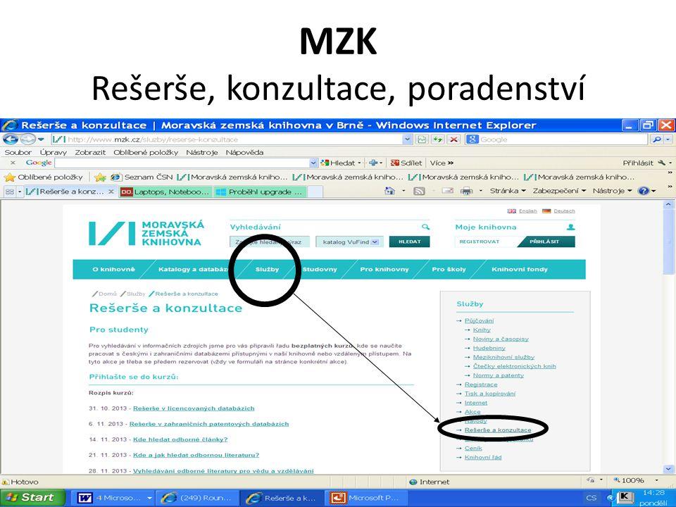 MZK Rešerše, konzultace, poradenství