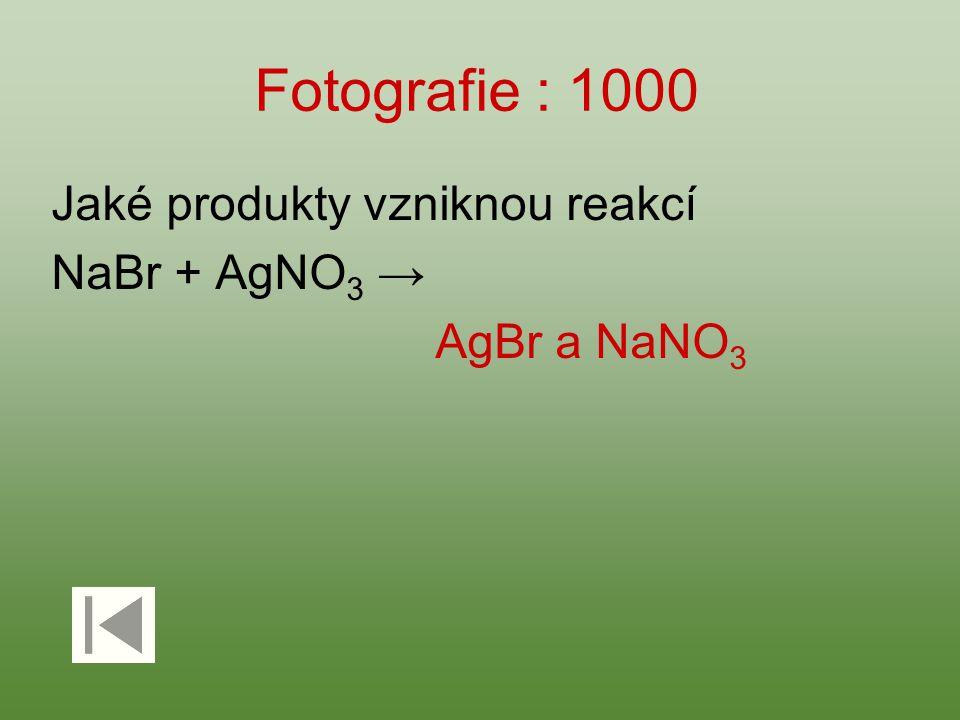 Fotografie : 1000 Jaké produkty vzniknou reakcí NaBr + AgNO 3 → AgBr a NaNO 3
