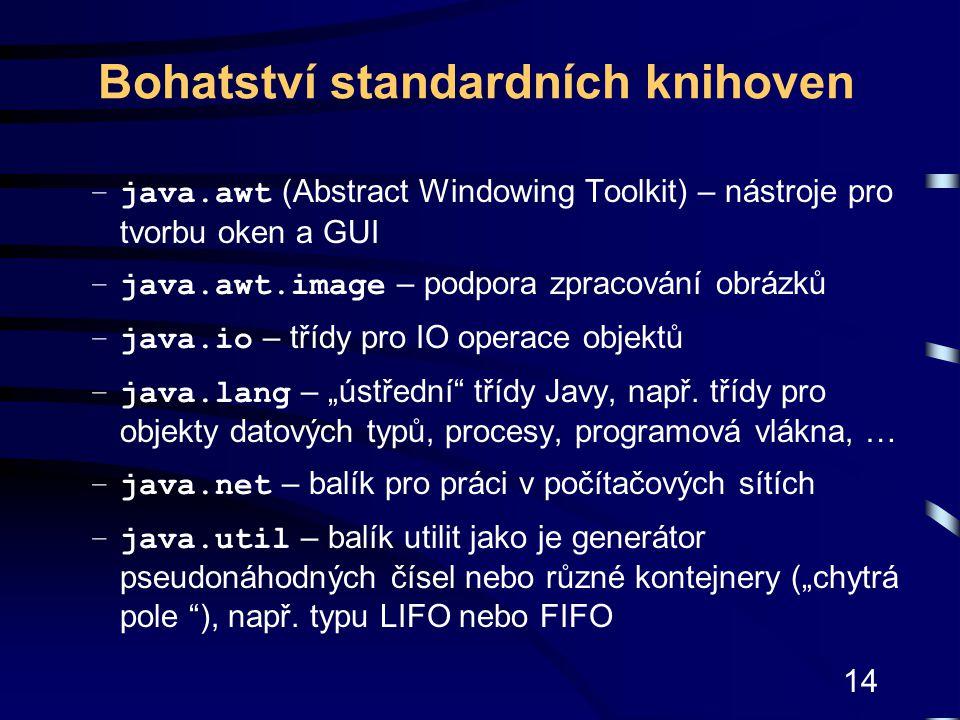 14 Bohatství standardních knihoven –java.awt (Abstract Windowing Toolkit) – nástroje pro tvorbu oken a GUI –java.awt.image – podpora zpracování obrázk