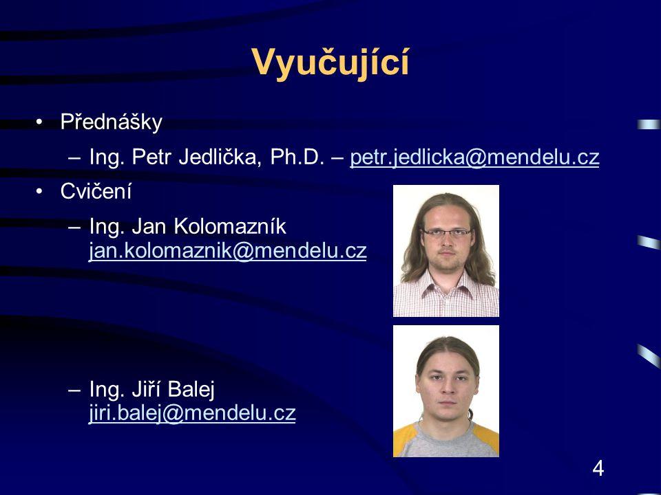 4 Vyučující Přednášky –Ing. Petr Jedlička, Ph.D. – petr.jedlicka@mendelu.czpetr.jedlicka@mendelu.cz Cvičení –Ing. Jan Kolomazník jan.kolomaznik@mendel