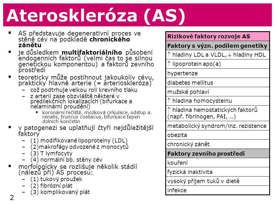 2 Ateroskleróza (AS)  AS představuje degenerativní proces ve stěně cév na podkladě chronického zánětu  je důsledkem multifaktoriálního působení endogenních faktorů (velmi čas to se silnou genetickou komponentou) a faktorů zevního prostředí  teoreticky může postihnout jakoukoliv cévu, prakticky hlavně arterie (= arterioskleróza) –což podtrhuje velkou roli krevního tlaku –z arterií zase obzvláště některé v predilekčních lokalizacích (bifurkace a nelaminární proudění)  koronární řečiště, mozková cirkulace, odstup a.