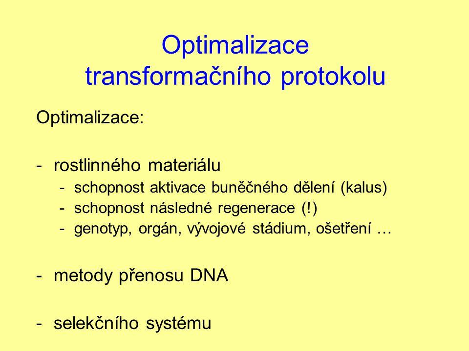 Selekční geny - pouze transformované, rezistentní buňky se mohou dělit (a vytvořit rostlinu) - rezistence k antibiotikům (kanamycin, hygromycin) - k herbicidům ( Roundup® - glyphosate, Liberty® - glufosinate) 5-enolpyruvylšikimát-3-fosfátsyntáza, glutaminsyntetáza (produkt selekčního genu buďto degraduje selekční látku, či komplementuje zasaženou buněčnou funkci) - PMI (fosfomanóza isomeráza) – přeměna manóza-6-P na fruktóza-6-fosfát, … Reportérové geny (vizuální selekce transformantů) : - GFP (zelený fluorescenční protein), - glukuronidáza, luciferáza, … Selekce transformovaných buněk (rostlin)