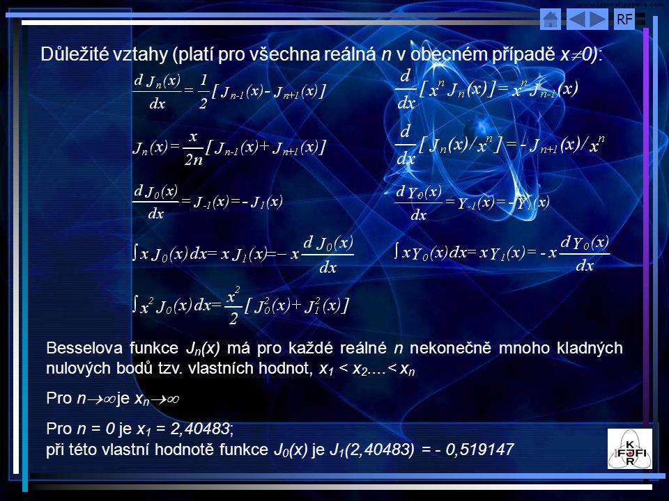 RF Důležité vztahy (platí pro všechna reálná n v obecném případě x  0): Besselova funkce J n (x) má pro každé reálné n nekonečně mnoho kladných nulových bodů tzv.