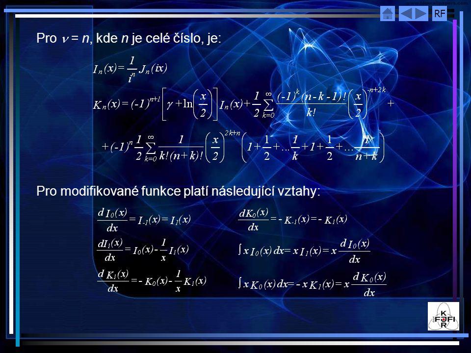 RF Pro = n, kde n je celé číslo, je: Pro modifikované funkce platí následující vztahy:
