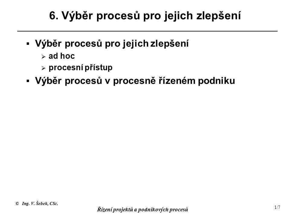 © Ing. V. Šebek, CSc. Řízení projektů a podnikových procesů 1/7 6.