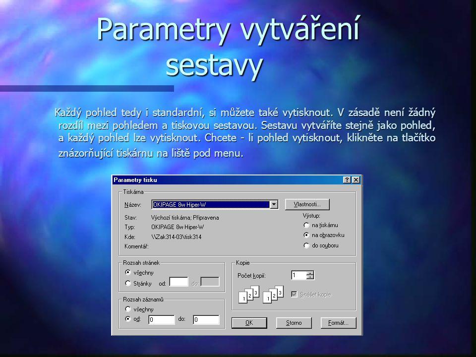 Parametry vytváření sestavy Parametry vytváření sestavy Každý pohled tedy i standardní, si můžete také vytisknout.