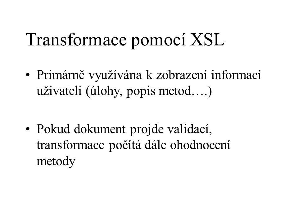 Transformace pomocí XSL Primárně využívána k zobrazení informací uživateli (úlohy, popis metod….) Pokud dokument projde validací, transformace počítá dále ohodnocení metody