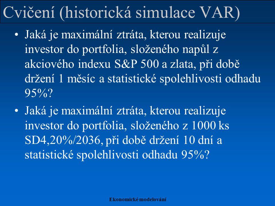 Ekonomické modelování Cvičení (historická simulace VAR) Jaká je maximální ztráta, kterou realizuje investor do portfolia, složeného napůl z akciového indexu S&P 500 a zlata, při době držení 1 měsíc a statistické spolehlivosti odhadu 95%.
